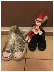 cling wrapped elf wraps shoes