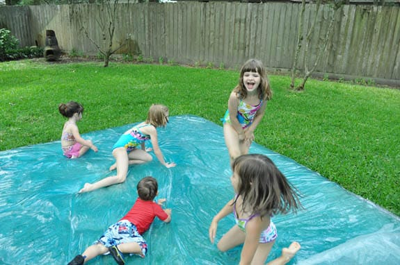 create a giant water blob as an outdoor activity for kids