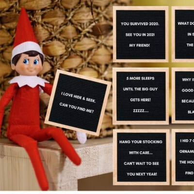 45 adorable & easy Elf on the Shelf letterboard notes with funny messages, jokes, and perfectly pair with a little Elf's mischief from the night before.