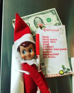 elf on the shelf grocery shopping list