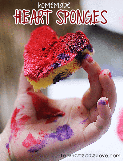 homemade heart sponges for creating valentines crafts for toddlers