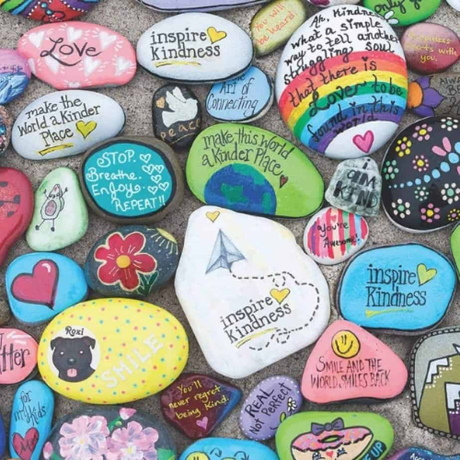 fun outdoor activity for kids is creating kindness rocks and leaving inspiring messages