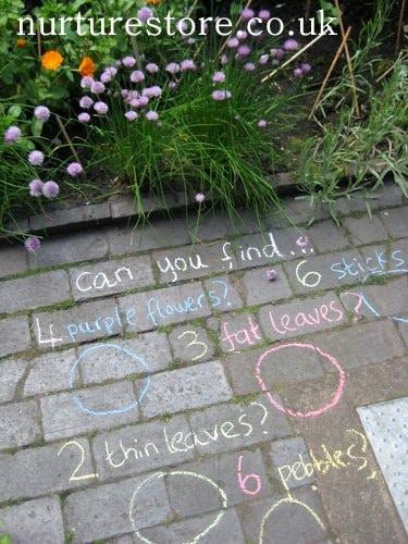 nature scavenger hunt chalk art