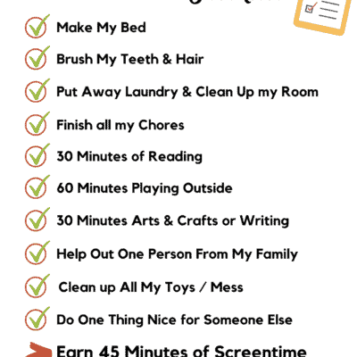 screen time rules checklist for kids