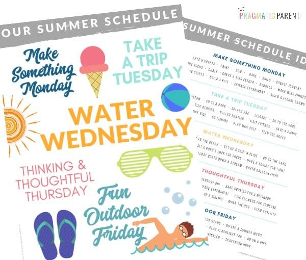 Snag a free printable summer schedule for kids to help you plan for ultimate fun, yet peaceful days. Printable Summer Schedule for Kids (and Moms!) planner.